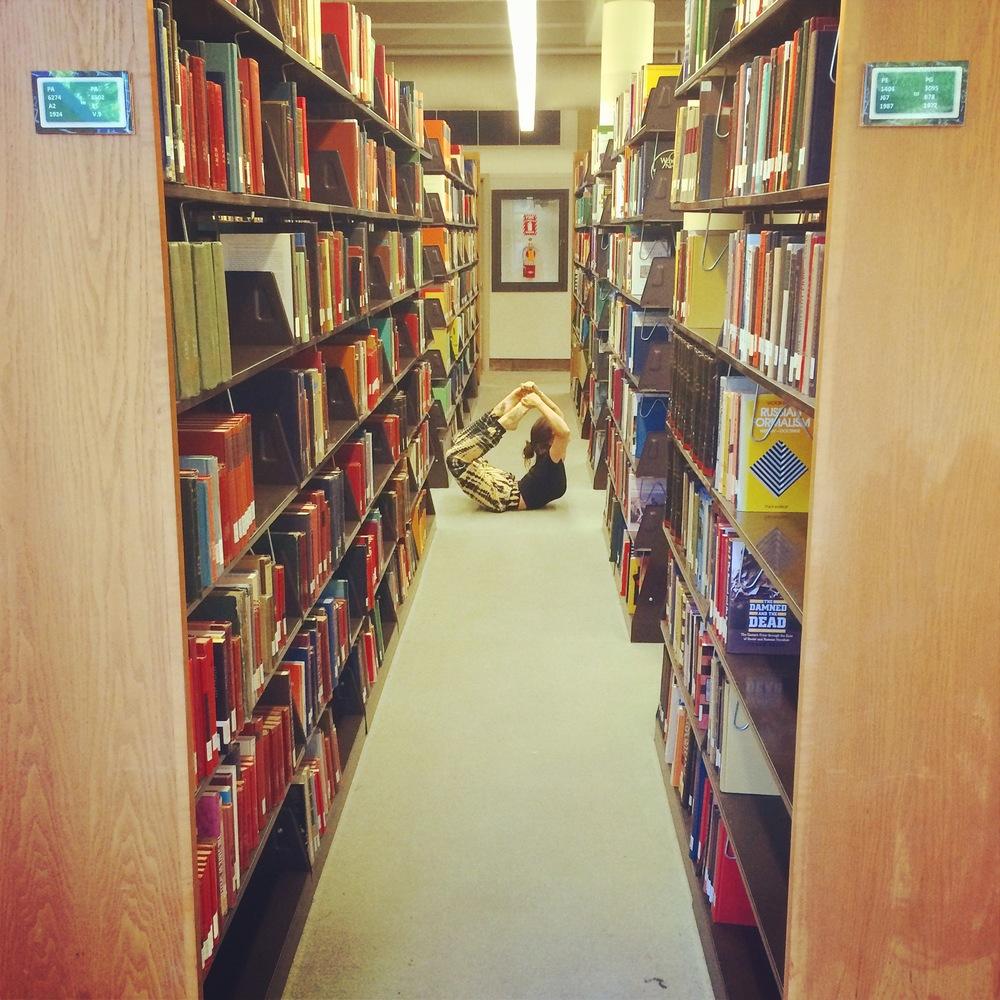dhanurasana in the library.JPG