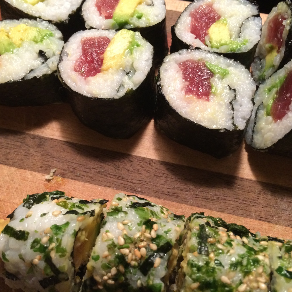 tuna avocado and spicy salmon roll.JPG