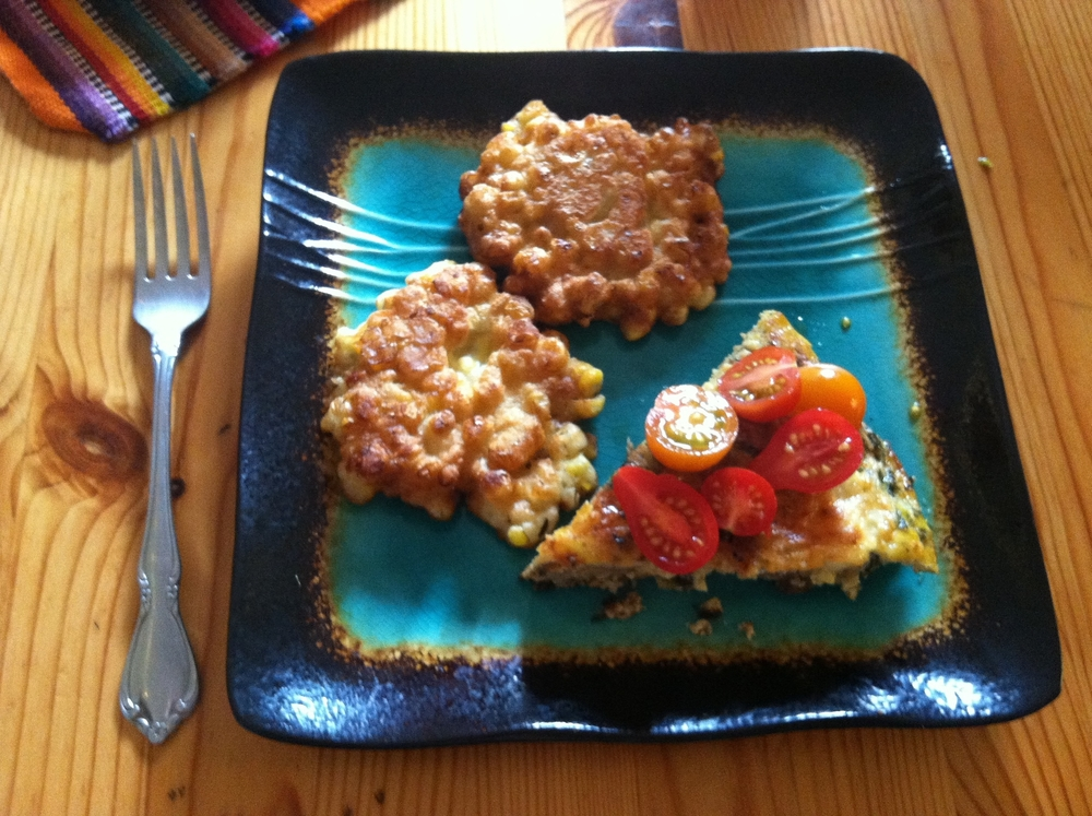 frittata and corn fritters.JPG