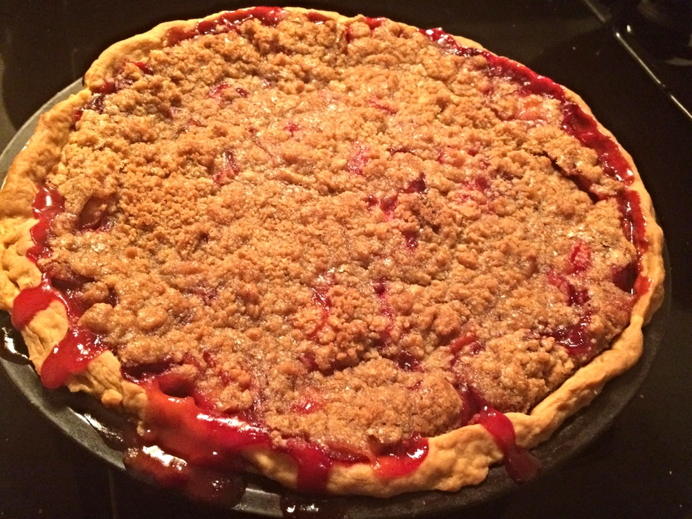 homemade homegrown plum pie