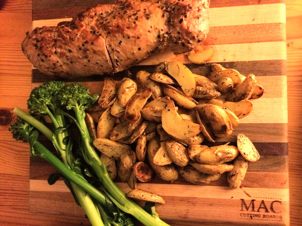 balanced meal - pork tenderloin, broccolini, fingerling potatoes.JPG