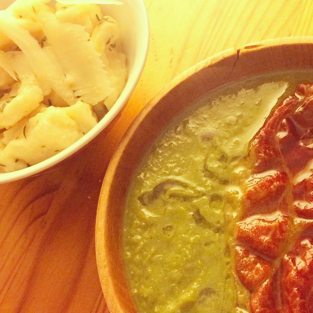 pea soup; homemade gnocchi