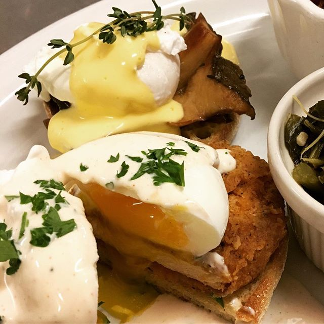 Dueling vegetarian Benedicts at #soulgroovethesequel #brunch #soulfood #eggsbenedict #duelingbennys #sfbrunch #bayareasoul #vegetariansoulfood #soulfoodSF #vegetarian