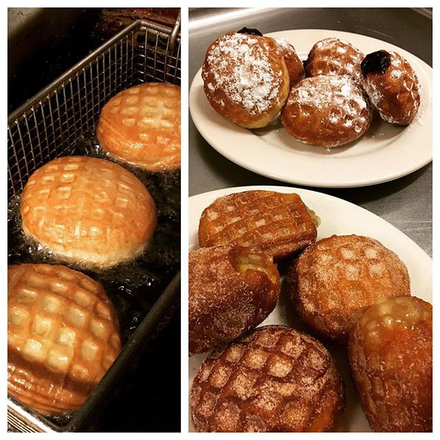 Our waffles dressed up as donuts for #baytobreakers! #brunchsf #doughffle #wonut #whatever #sfsoul #bayarea #chickenandwaffles #otherstufftoo #scratchmade #pastry #soulfood #brunch