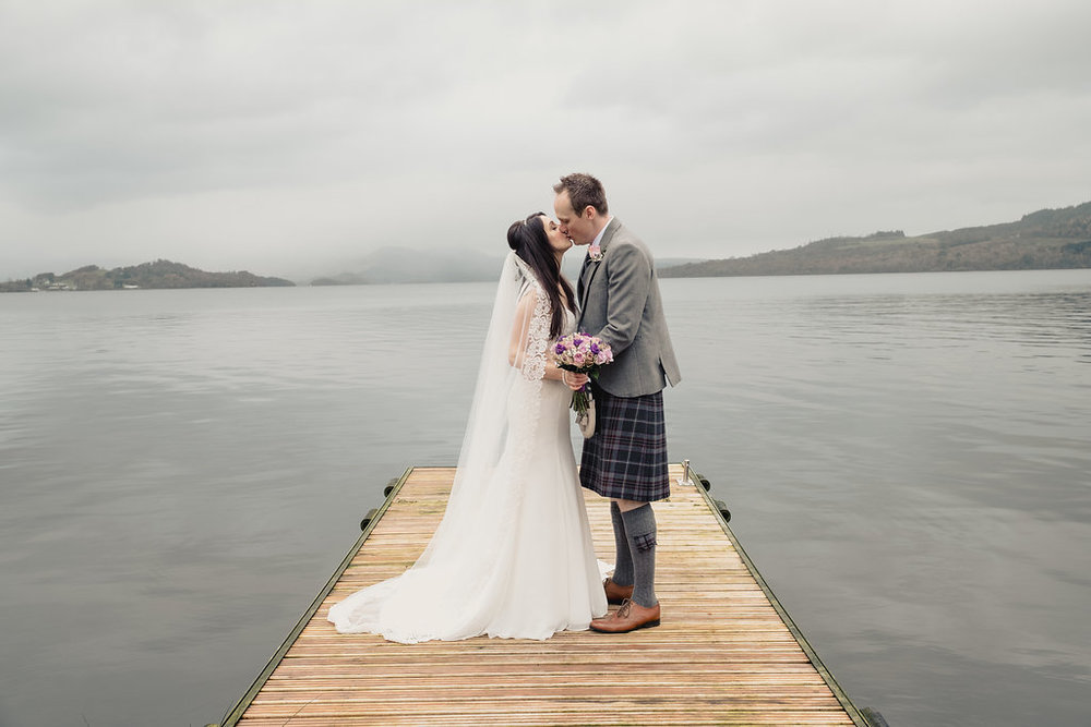Kissing Shot on a jetty, at The Cruin, Loch Lomond, image by Doran Photography