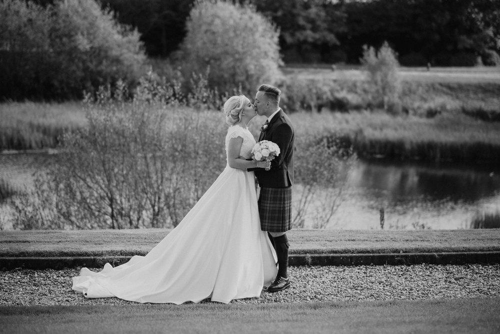 Black & White wedding portraiture, Lochside Hotel, image by doran Photography