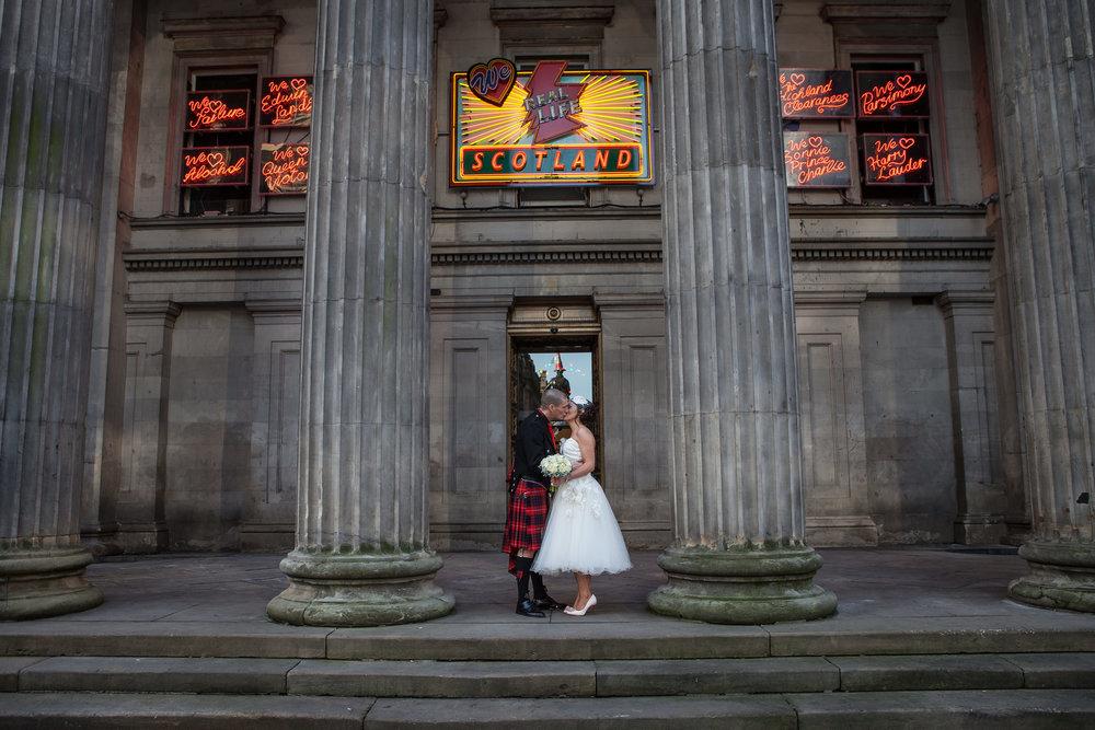 Wedding Kiss, GOMA Glasgow, by Doran Photography