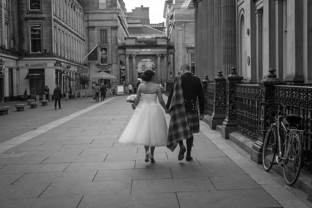 Wedding Stroll, Glasgow City Centre, by Doran Photography