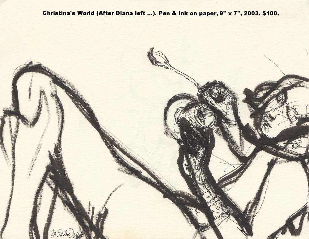 Fred Wise Christinas World After Diana left the car she thought of the place where she originally pen and ink on paper 9 in x 7 in 2003.jpg