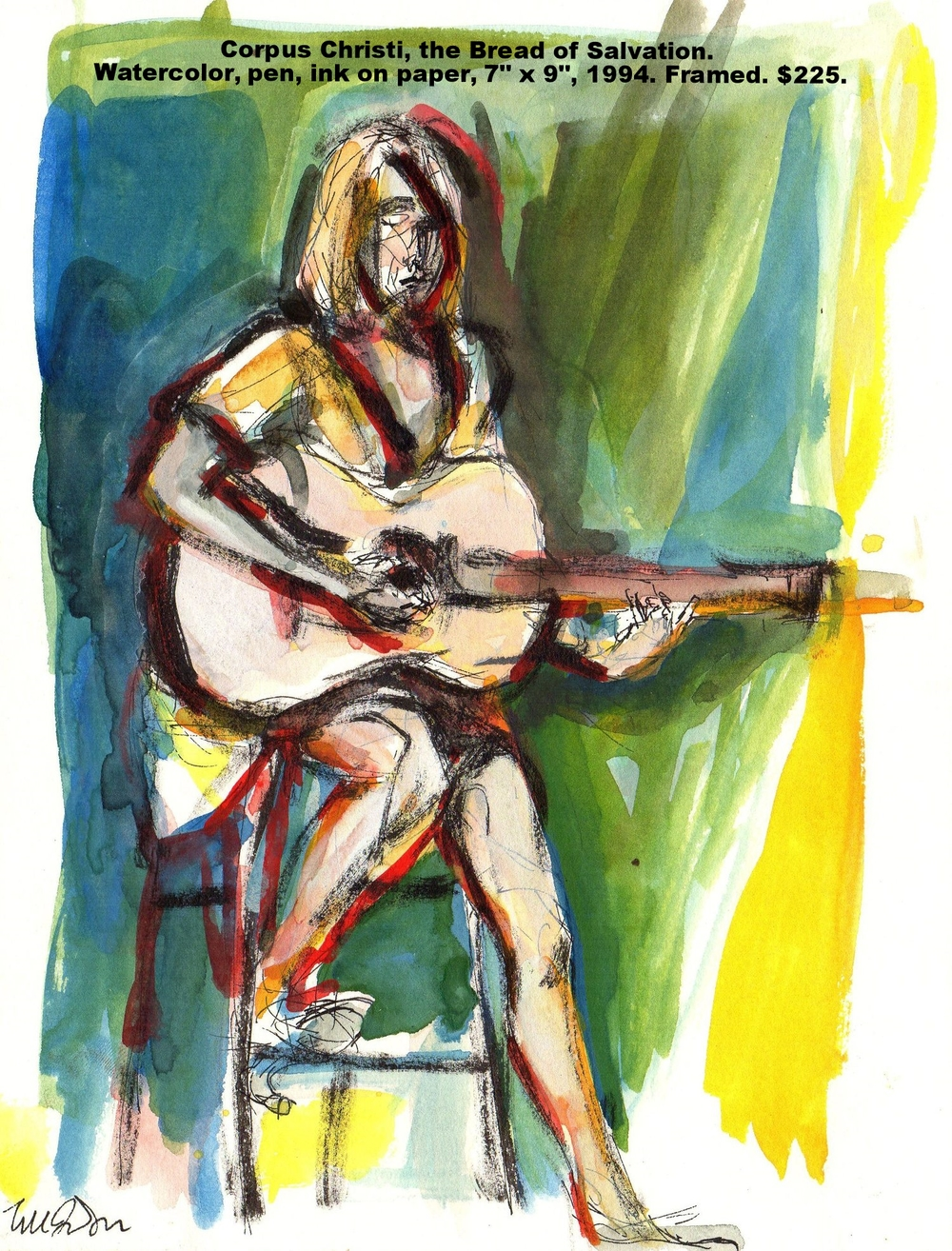 1 Fred Wise Corpus Christi the Bread of Salvation Watercolor pen and ink on paper 7 in x 9 in 1994.jpg