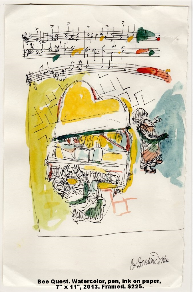 Fred Wise Bee Quest Watercolor, pen, paper 7 x 11 2013 framed $225.jpg