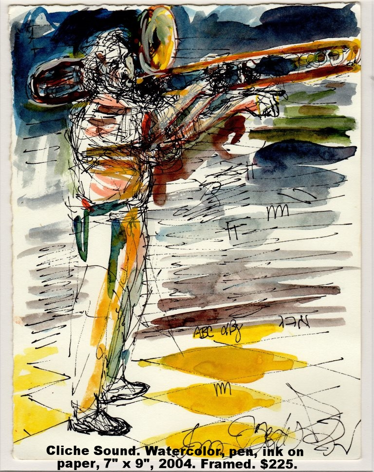 Fred Wise Cliche Sound Watercolor, pen on paper 7 x 9 2004 framed $225.jpg