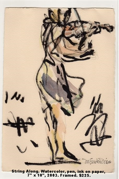 Fred Wise String Along Watercolor, pen, ink on paper 7 x 10 framed 2003 $225 .jpg