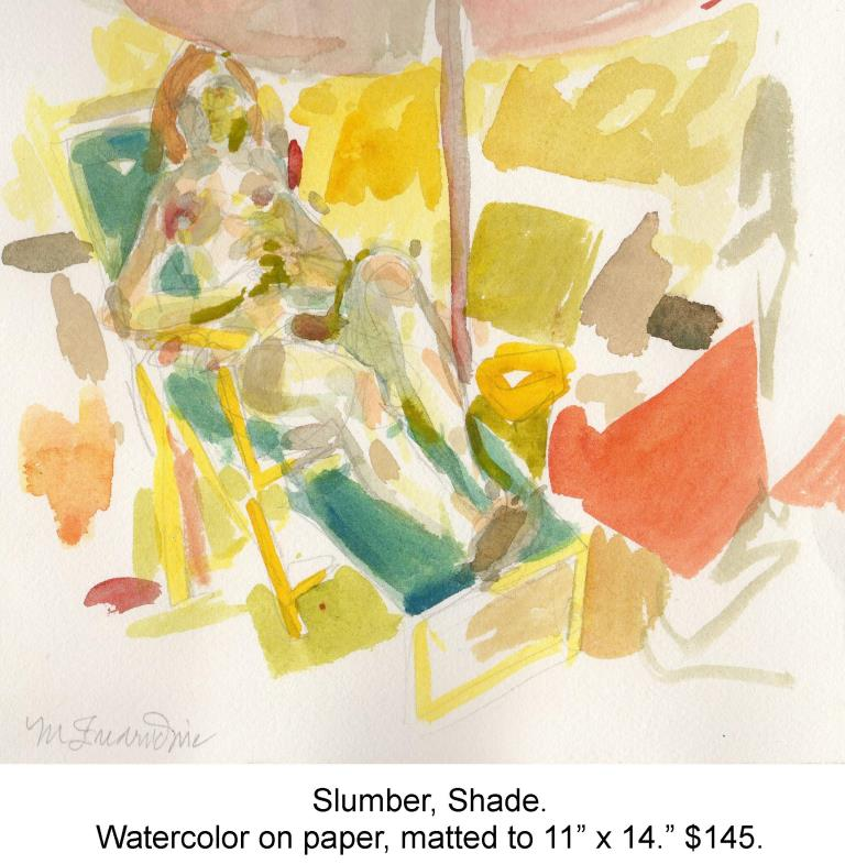 Fred Wise, Slumber, Shade. Watercolor, pencil on paper, matted to 11 x 14 , 2014.jpg