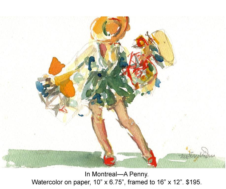 Fred Wise, In Montreal - A Penny. Watercolor, pencil on paper, 10 x 6.75, 2011.jpg