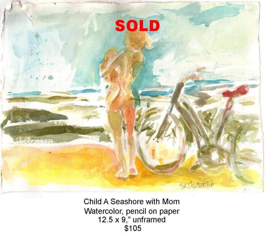 Fred Wise, Child A Seashore with Mom. Watercolor, pencil, 12.5 x 9, 2015, web.jpg