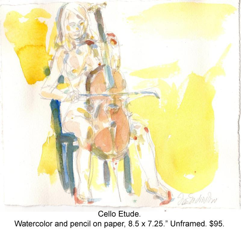 Fred Wise, Cello Etude. Watercolor, pencil on paper, 8.5 x 7.25, 2015.jpg