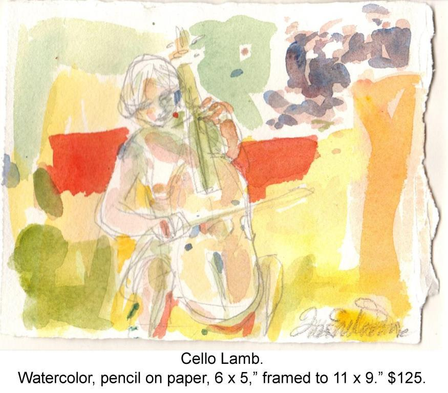 Fred Wise, Cello Lamb. Watercolor, pencil, paper, 6 x 5, framed, 2015, web.jpg
