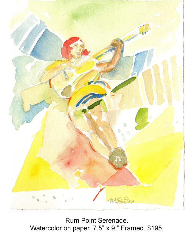 Fred Wise, Rum Point Serenade, watercolor and pencil on paper, 7.5 x 9, 2014.jpg