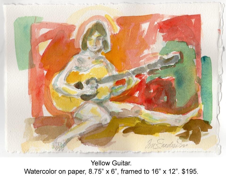Fred Wise, Yellow Guitar. Watercolor, pencil on paper, 8.75 x 6, 2015.jpg