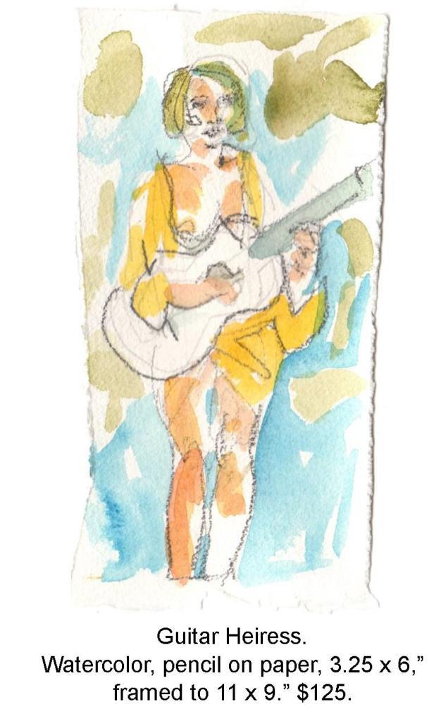 Fred Wise, Guitar Heiress. Watercolor, pencil on paper, 3.25 x 6.5 2015, web.jpg