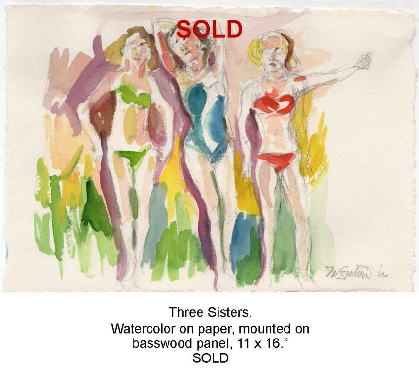 Fred Wise, Three Sisters. Watercolor and pen on paper, approx 10 x 8, 1995.jpg