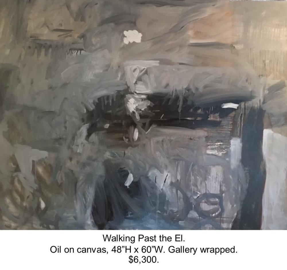 Fred Wise, Walking Past the El. Oil on canvas, 48 x 60, 2016, gallery.jpg