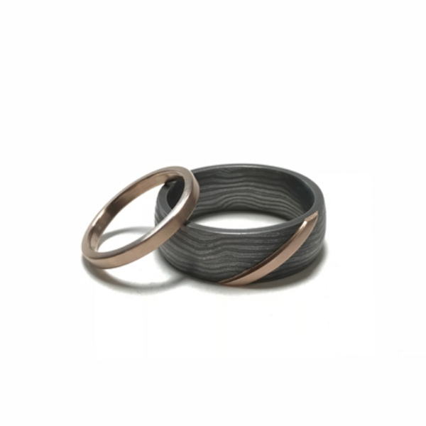 Custom Damascus Steel and Red Gold Wedding Bands
