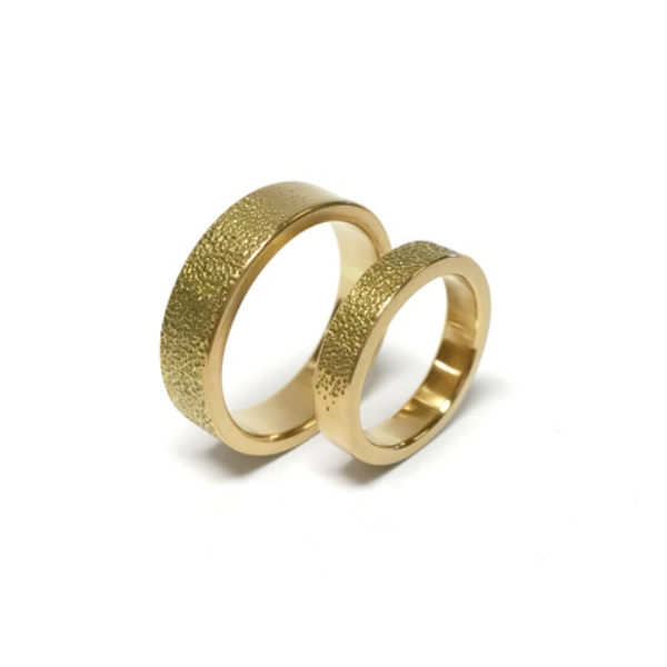 14k Yellow Gold Wedding Bands with Stippled Texture