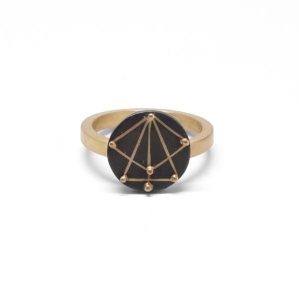 Detroit Radial Ring 14k Gold and Shibuichi