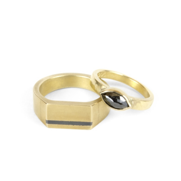 18k Yellow Gold with Shibuichi Inlay and Marquis Black Diamond
