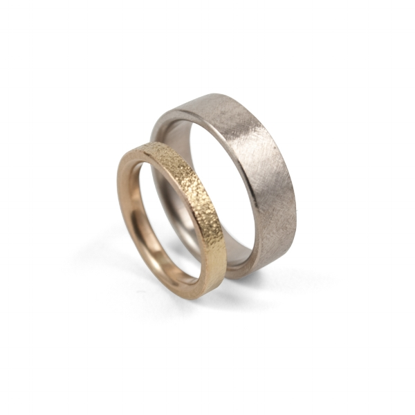 14k Yellow and White Gold Textured Wedding Bands