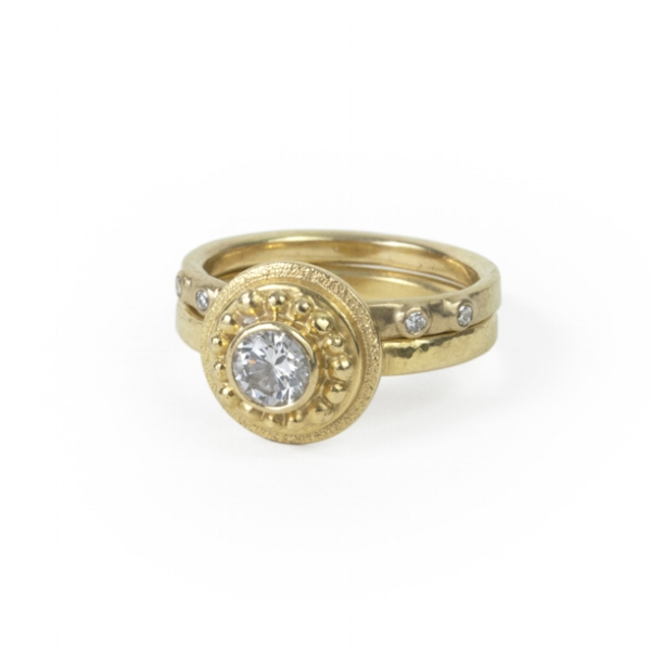 18k Royal Yellow Gold Wedding Set with Diamonds
