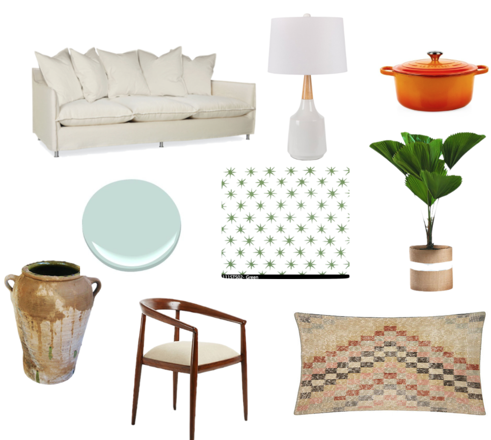 sofa Lee industries // lamp Serena and Lily // pot La Creuset // fabric Peter Dunham // olive jar, chair, and pillow OKL // paint color Benjamin Moore