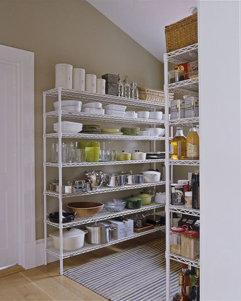 WHAT A GREAT ALTERNATIVE TO A TRADITIONAL PANTRY- EVERYTHING IS SO ACCESSIBLE AND PRETTY