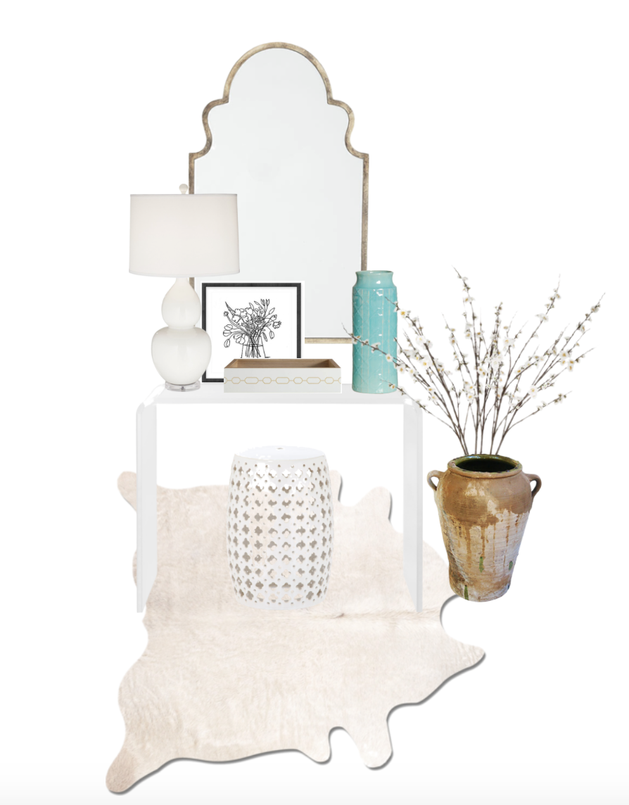 console: CB2, vase and tray: domino, stool: wisteria, lamp: circa lighting, mirror: wisteria, art and olive jar: OKL