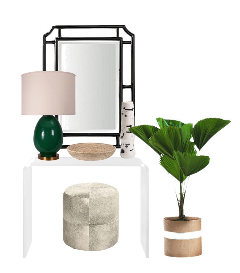 console: CB2, pouf: wisteria, lamp: mr.brown, vase and bowl: domino, mirror: serena & lily