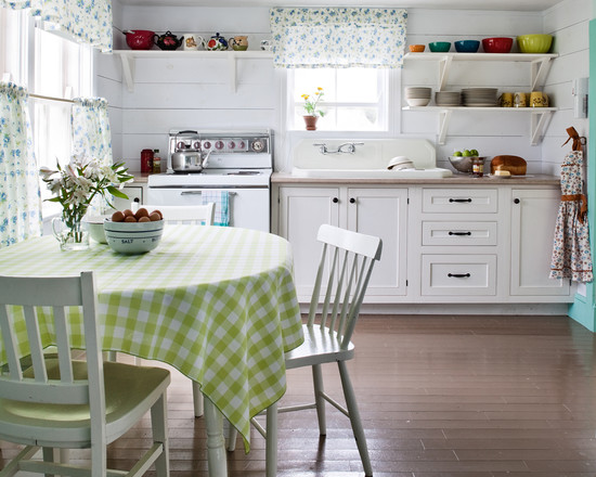 cool-country-cottage-furniture-with-beach-style-for-kitchen-also-white-comely-wooden-dining-chair-also-green-white-tablecloth-with-gingham-pattern-also-round-dining-table-and-brown-laminate-floor.jpg