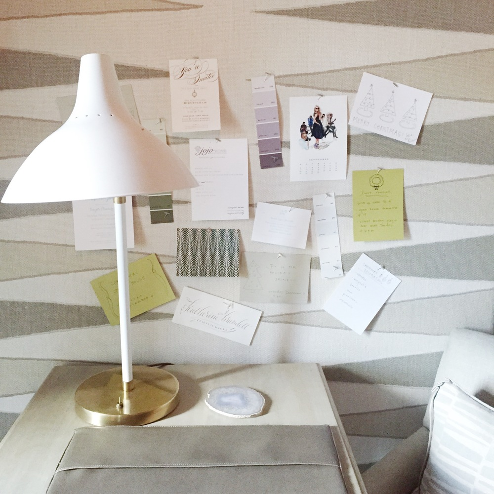 CUSTOM DESK BLOTTER AND AERIN DESK LAMP  | LOVE HOW THE DECORATIVE PANELS HAVE A FUNCTIONAL USE AS A PIN BOARD