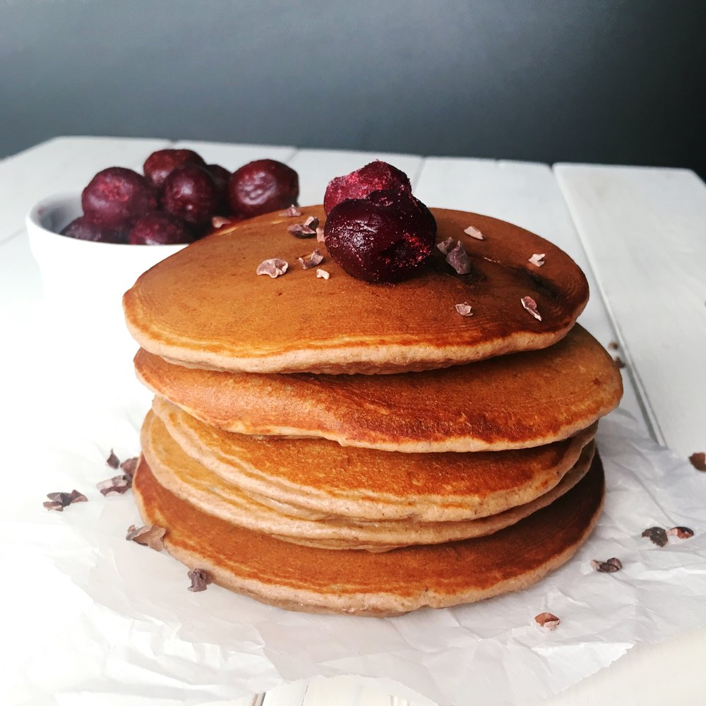 choco cherry pancakes image