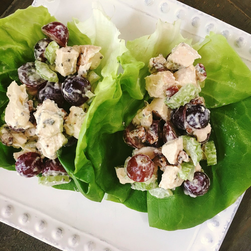 Crunchy Chicken Salad Lettuce Wraps