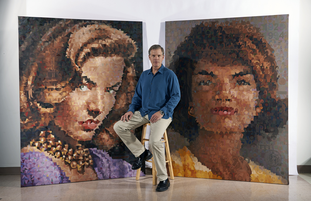Karl Soderlund with his Iconic Obsession paintings