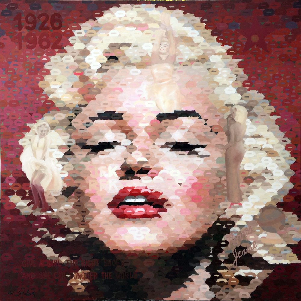 "Marilyn Monroe with Red, 56"" x 56"""