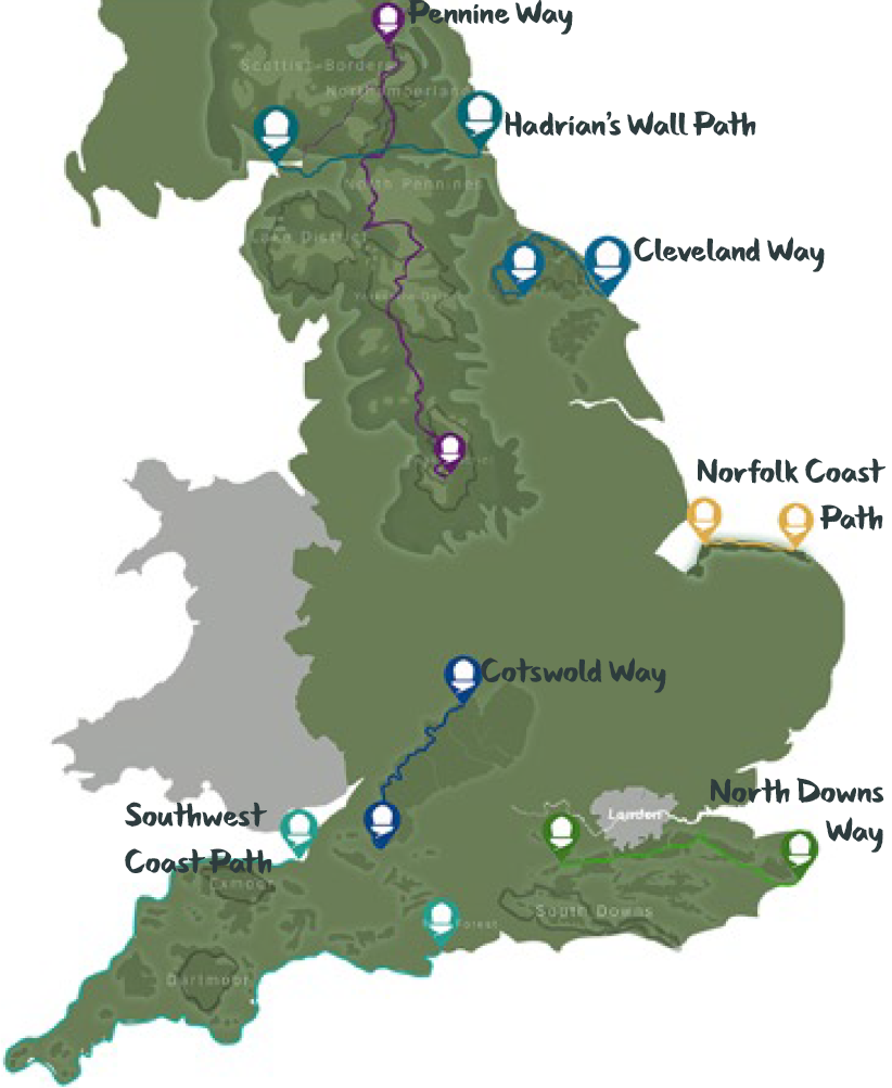 Discover England's Great Walking Trails  - Project Map