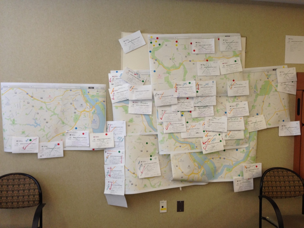 The map of staff that we coordinated rides for.  People were really all over the DMV!