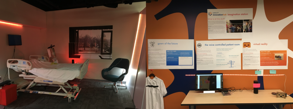 Left: the latest update of the Patient Centered Room with prototypes inside.   Right: our recently introduced HubKiosk, where you can come and try out some recent creations or technologies!