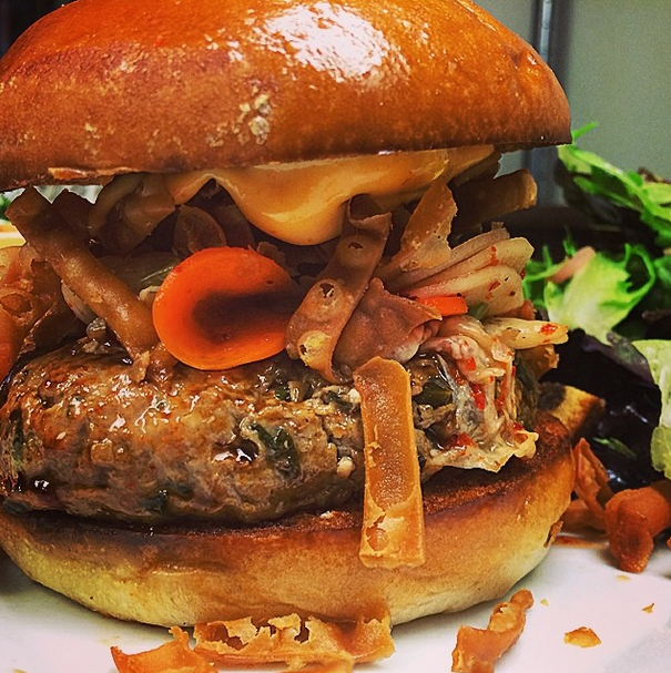 The Shumai Burger loaded up with our homemade kimchi!
