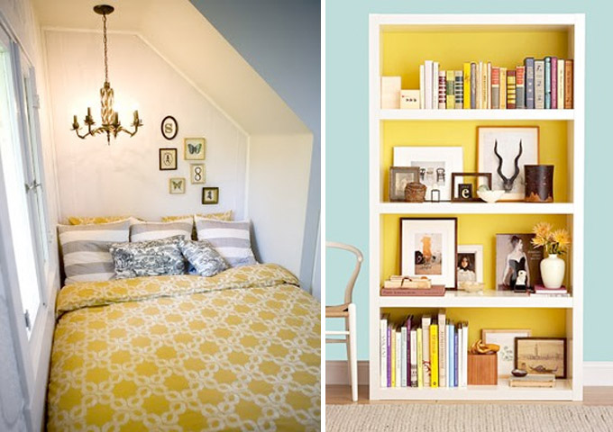 Cozy nook bedroom & Bright bookcase