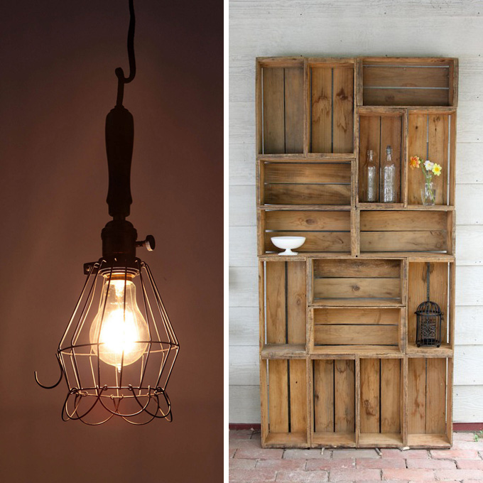 Mechanic's Beacon Light from  Anthropologie , Bookshelf Made From Antique Apple Crates found on  Pinterest