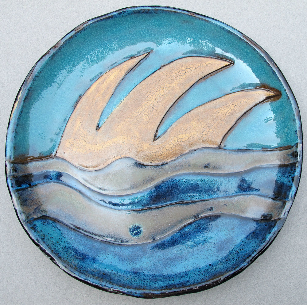 YELLOW WAVES ON BLUE PLATE